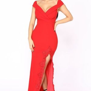 Long red dress with lace details